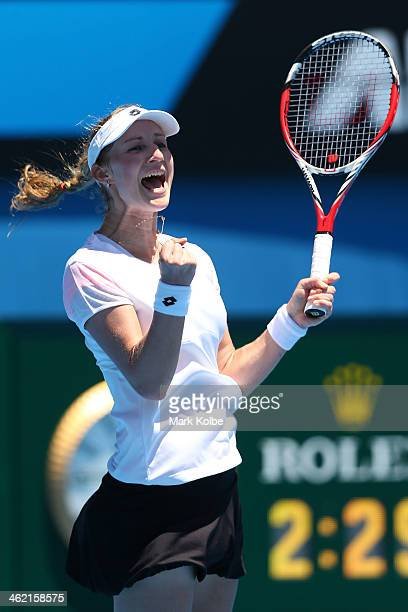 Ekaterina Makarova of Russia celebrates winning her first round match against Venus Williams of the United States during day one of the 2014...