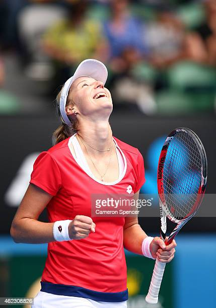 Ekaterina Makarova of Russia celebrates winning her quarterfinal match against Simona Halep of Romania during day nine of the 2015 Australian Open at...