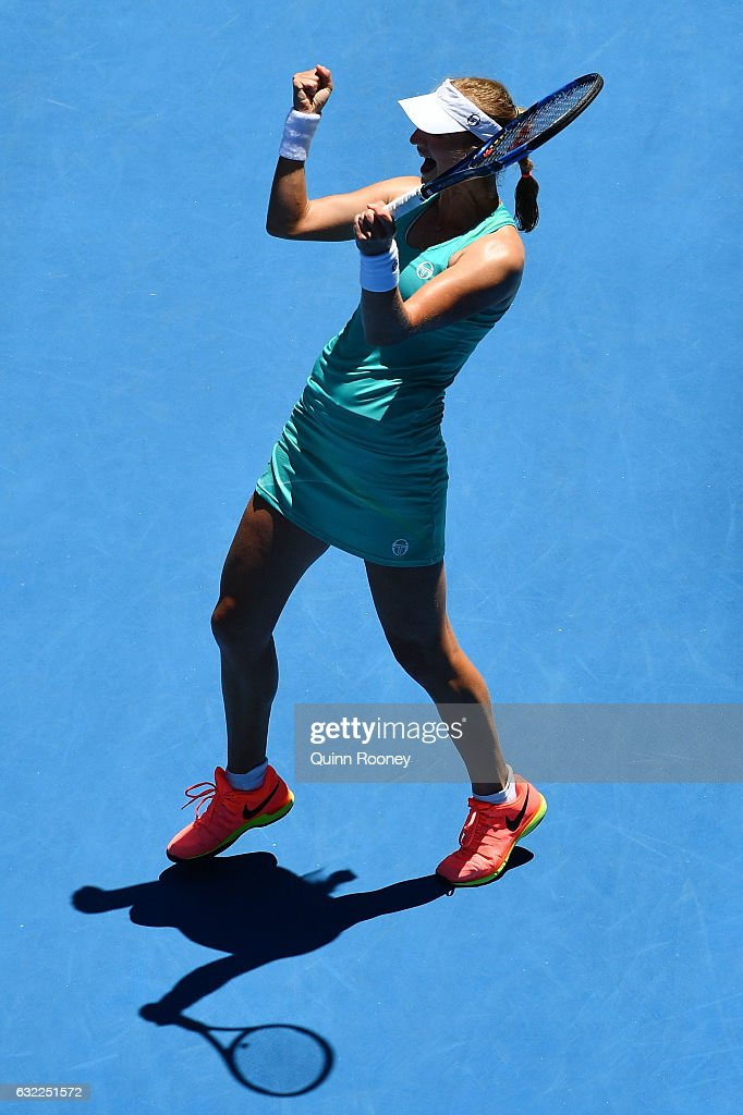Ekaterina Makarova of Russia celebrates winning her third round match against Dominika Cibulkova of Slovakia on day six of the 2017 Australian Open at Melbourne Park on January 21, 2017 in Melbourne, Australia.
