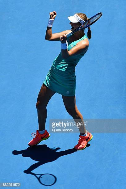 Ekaterina Makarova of Russia celebrates winning her third round match against Dominika Cibulkova of Slovakia on day six of the 2017 Australian Open...