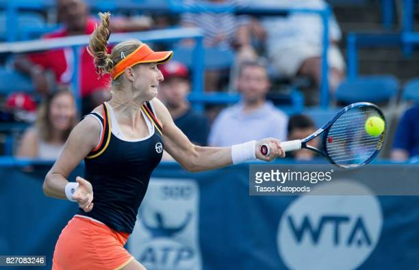 Ekaterina Makarova of Russia competes with Julia Goerges of Germany at William HG FitzGerald Tennis Center on August 6 2017 in Washington DC