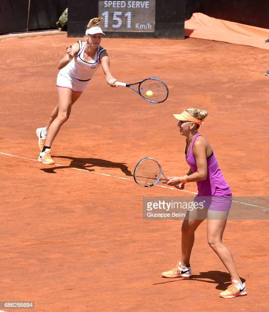 Ekaterina Makarova of Russia in action during the WTA Doubles Final match between YungJan Chan of Taiwan and Martina Hingis of Switzerlandand and...