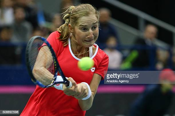 Ekaterina Makarova of Russia in an action against Cindy Burger and Arantxa Rus of Netherlands during the Fed Cup World Group First round tennis match...