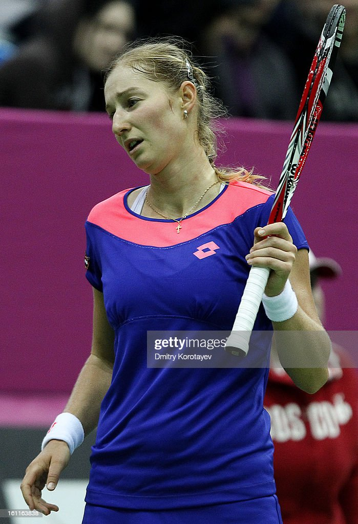 <a gi-track='captionPersonalityLinkClicked' href=/galleries/search?phrase=Ekaterina+Makarova&family=editorial&specificpeople=2364239 ng-click='$event.stopPropagation()'>Ekaterina Makarova</a> of Russia reacts during her match against Ayumi Morita of Japan in the Federation Cup 2013 World Group Quarterfinal match between Russia and Japan at Olympic Stadium on February 09, 2013 in Moscow, Russia.