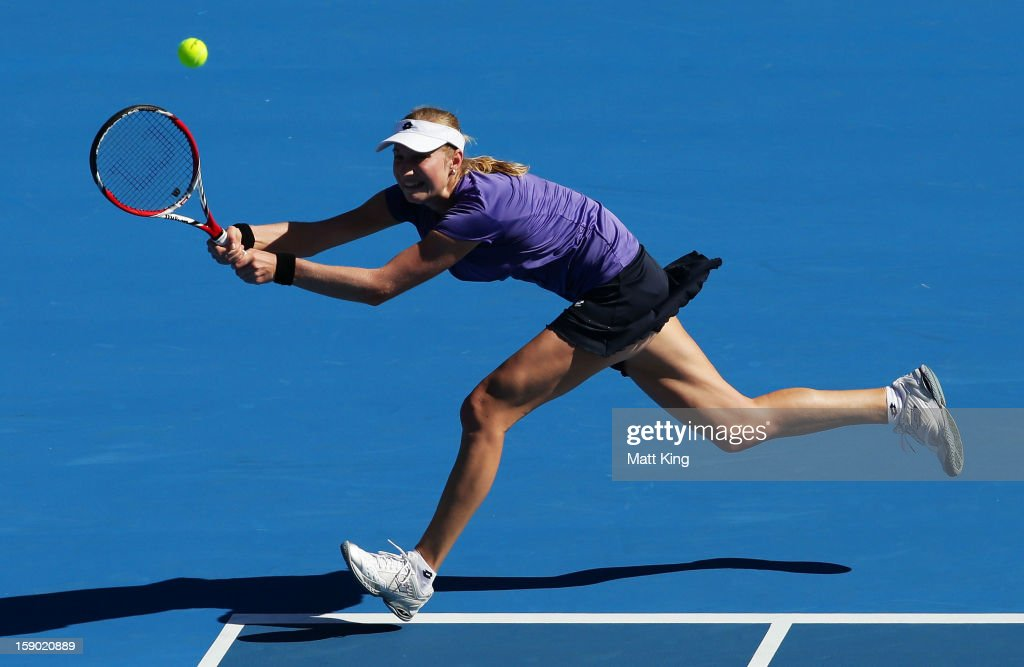<a gi-track='captionPersonalityLinkClicked' href=/galleries/search?phrase=Ekaterina+Makarova&family=editorial&specificpeople=2364239 ng-click='$event.stopPropagation()'>Ekaterina Makarova</a> of Russia stretches out to play a backhand in her first round match against Varvara Lepchenko of USA during day one of the Sydney International at Sydney Olympic Park Tennis Centre on January 6, 2013 in Sydney, Australia.