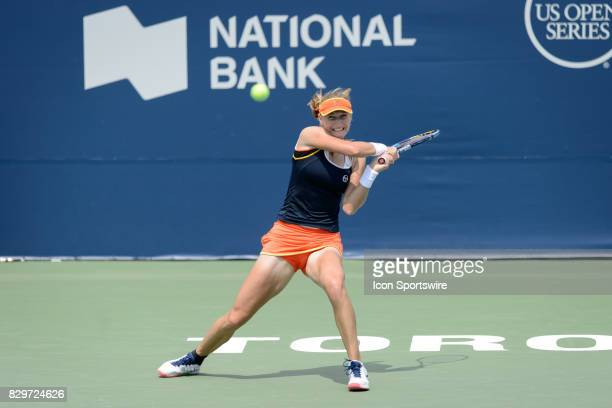 Ekaterina Makarova of Russian Federation returns the ball during her third round match of the 2017 Rogers Cup tennis tournament on August 9 at Aviva...