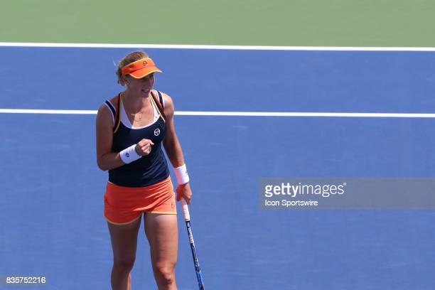 Ekaterina Makarova reacts during the Western Southern Open at the Lindner Family Tennis Center in Mason Ohio on August 18th 2017