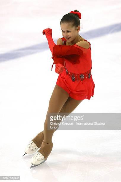 Ekaterina Mitrofanova of Russia skates during the junior ladies short programm of the ISU Junior Grand Prix at TorTor Arena on September 24 2015 in...