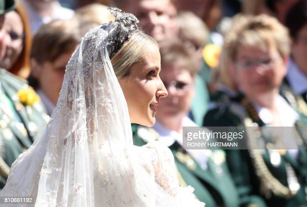 Ekaterina of Hanover arrives for her church wedding in Hannover central Germany on July 8 2017 Prince Ernst August of Hanover did not give in to the...