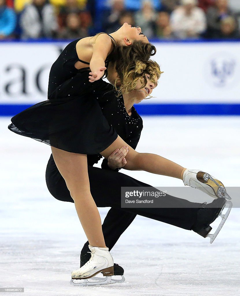 Ekaterina Riazanova (L) and Ilia Tkachenko of Russia skate during the ice dance free program on day two at the ISU GP 2013 Skate Canada International at Harbour Station on October 26, 2013 in Saint John, New Brunswick, Canada.