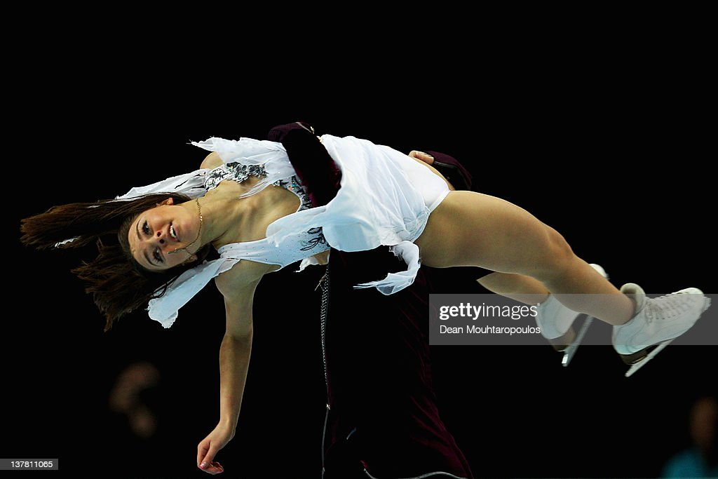 Ekaterina Riazonova and Ilia Tkachenko of Russia perform in the Ice Dance Free Dance during the ISU European Figure Skating Championships at Motorpoint Arena on January 27, 2012 in Sheffield, England.