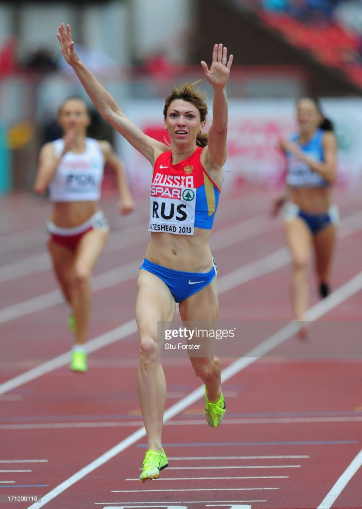 Ekaterina Sharmina of Russia wins the womens 1500 metres during day two of the European Athletics Team Championships at Gateshead International Stadium on June 23, 2013 in Gateshead, England.