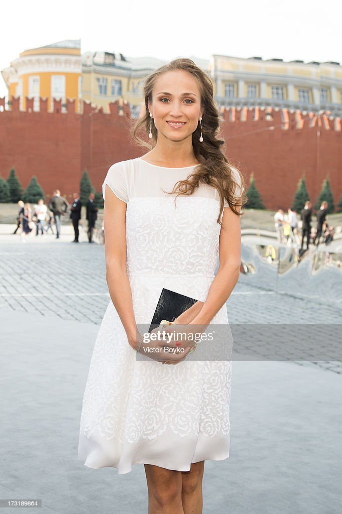 Ekaterina Shupulina attends the Dior A/W 2013-2014 show at Red Square on July 9, 2013 in Moscow, Russia.