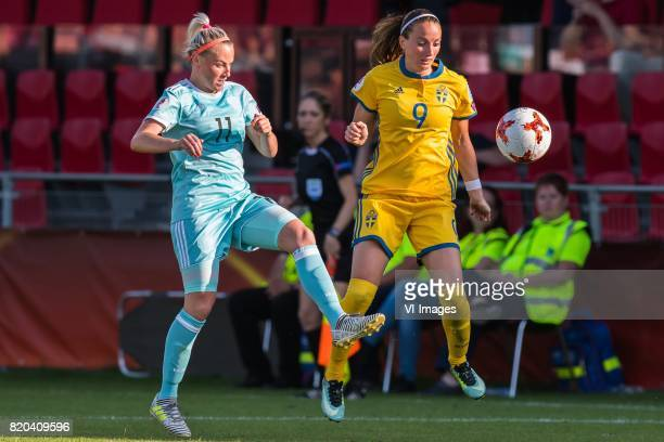 Ekaterina Sochneva of Russia women Kosovare Asllani of Sweden women during the UEFA WEURO 2017 Group B group stage match between Sweden and Russia at...