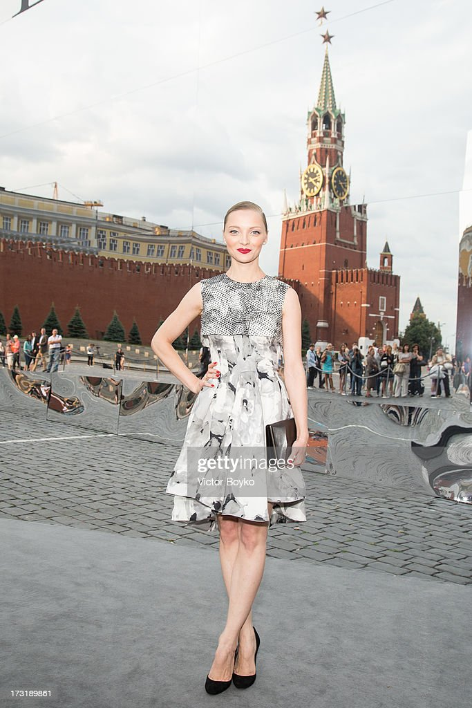 Ekaterina Vilkova attends the Dior A/W 2013-2014 show at Red Square on July 9, 2013 in Moscow, Russia.