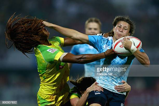 Ekaterina Vorontsova of Russia is tackled by Ellia Green of Australia during the Emirates Dubai Rugby Sevens HSBC World Rugby Women's Sevens Series...
