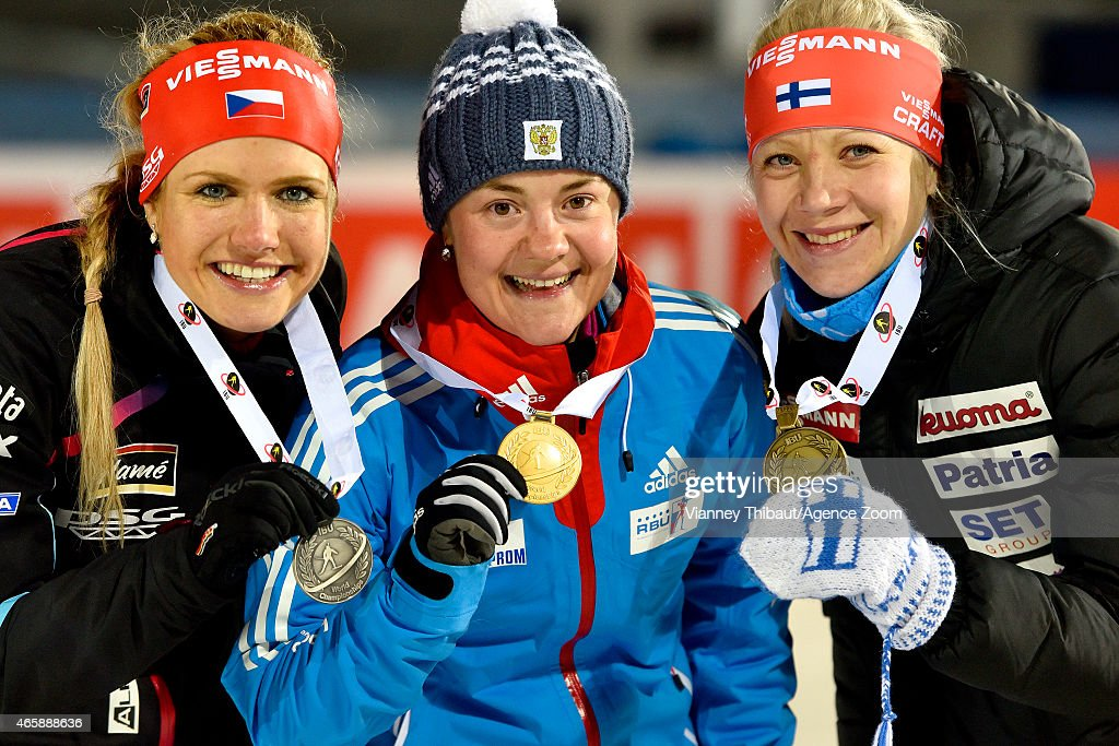 Ekaterina Yurlova of Russia takes 1st place, Gabriela Soukalova of the Czech Republic takes 2nd place, Kaisa Makarainen of Finland takes 3rd place during the IBU Biathlon World Championships Women's Individual on March 11, 2015 in Kontiolahti, Finland.