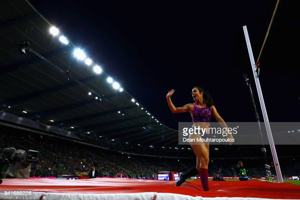 Ekaterini Stefanidi of Greece wave to the fans during the Womens Pole Vault Final at the AG Memorial Van Damme Brussels as part of the IAAF Diamond...