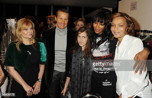 Ekatrina Doronin Vladislav Doronin Katia Doronin Naomi Campbell and Valerie Campbell backstage during Naomi Campbell's Fashion For Relief Haiti...