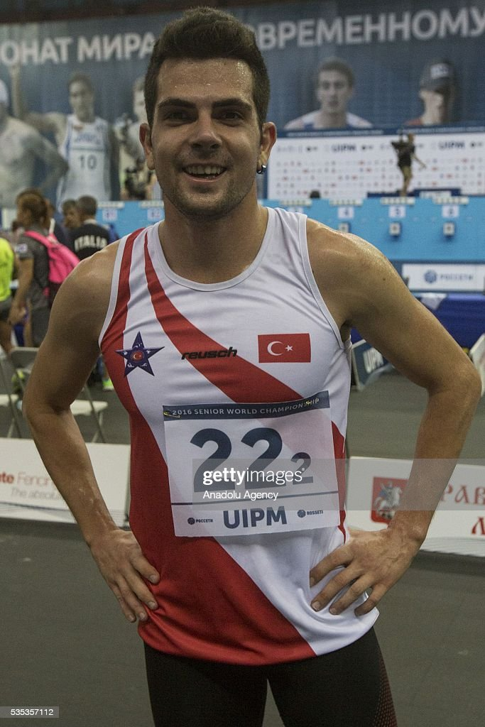 Ekin Canberk Hulusi from Turkey after finish the combined event at the mixed relay World Championship in modern pentathlon in Moscow in Olympic Sports Complex in Moscow, Russia, on May 29, 2016.
