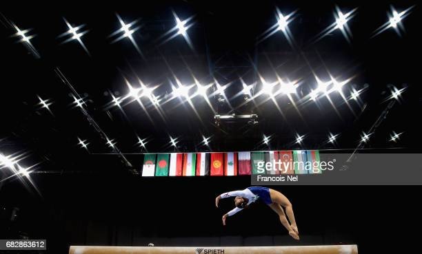 Ekin Morova of Turkey competes in the Women's Beam Qualification during day three of Baku 2017 4th Islamic Solidarity Games at the National...