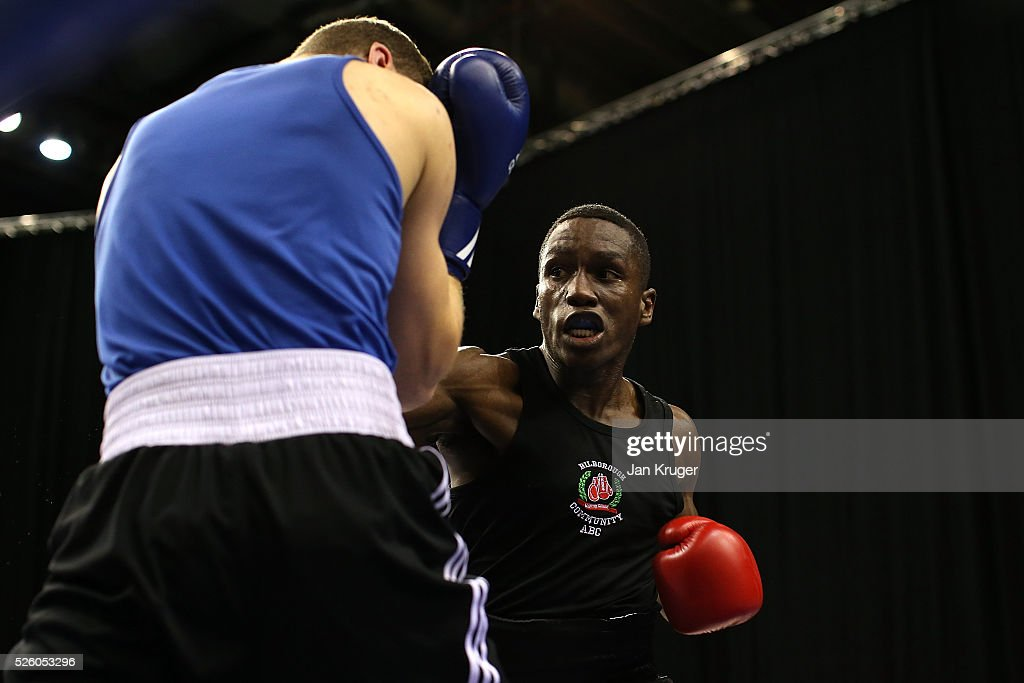 Ekow Essuman(red) in action against Abdul Ibrahim in their 69kg quarter final fight during day one of the Boxing Elite National Championships at Echo Arena on April 29, 2016 in Liverpool, England.