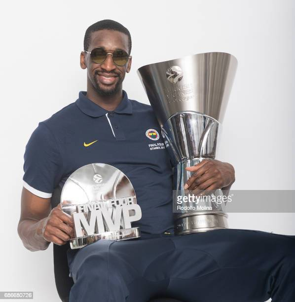 Ekpe Udoh #8 of Fenerbahce Istanbul and MVP of the Final pose during Turkish Airlines EuroLeague Basketball Final Four istanbul 2017 Champion Photo...