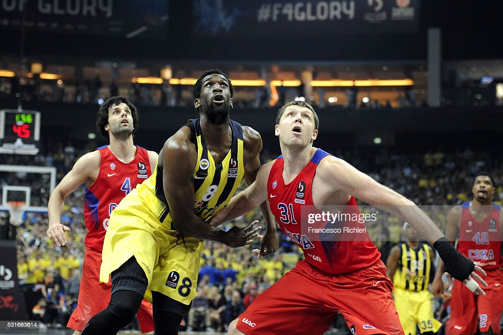Ekpe Udoh #8 of Fenerbahce Istanbul competes with Victor Khryapa #31 of CSKA Moscow during the Turkish Airlines Euroleague Basketball Final Four...