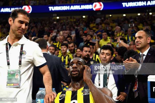 Ekpe Udoh #8 of Fenerbahce Istanbul rest in the bench just before the end of Championship Game 2017 Turkish Airlines EuroLeague Final Four between...