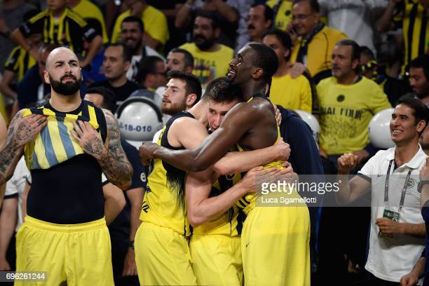Ekpe Udoh #8a and Bogdan Bogdanovic #13 of Fenerbahce Istanbul during the Championship Game 2017 Turkish Airlines EuroLeague Final Four between...