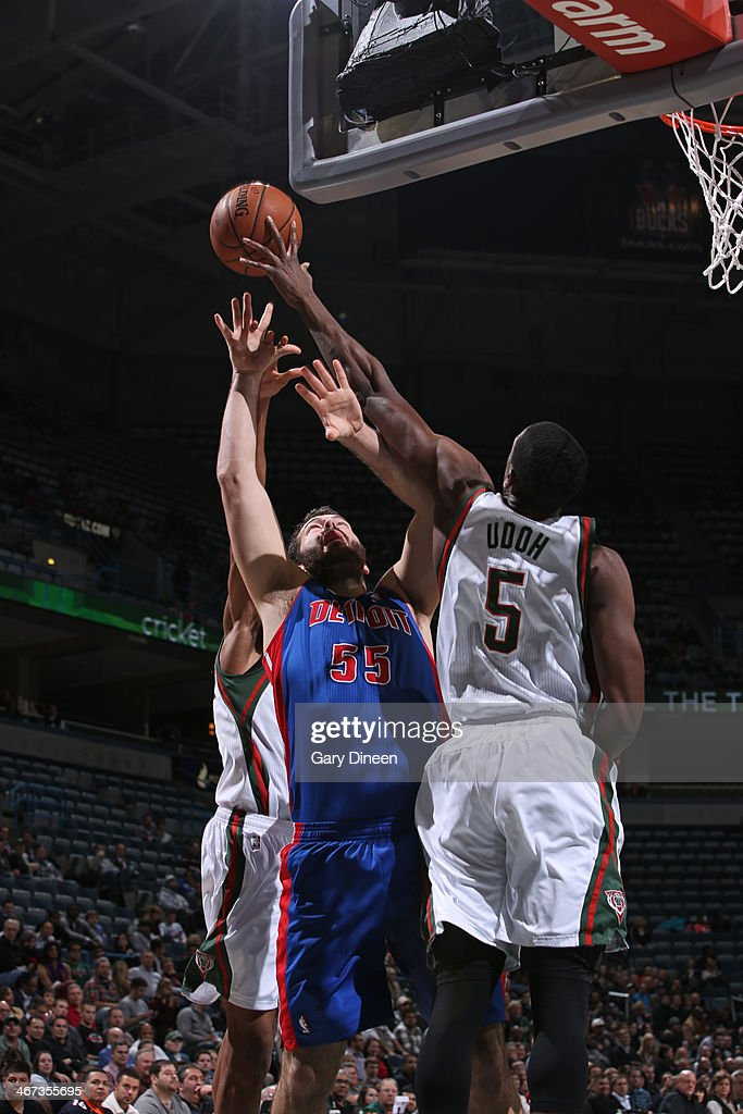 <a gi-track='captionPersonalityLinkClicked' href=/galleries/search?phrase=Ekpe+Udoh&family=editorial&specificpeople=4185351 ng-click='$event.stopPropagation()'>Ekpe Udoh</a> #5 of the Milwaukee Bucks grabs the rebound against <a gi-track='captionPersonalityLinkClicked' href=/galleries/search?phrase=Josh+Harrellson&family=editorial&specificpeople=5590632 ng-click='$event.stopPropagation()'>Josh Harrellson</a> #55 of the Detroit Pistons on December 4, 2013 at the BMO Harris Bradley Center in Milwaukee, Wisconsin.