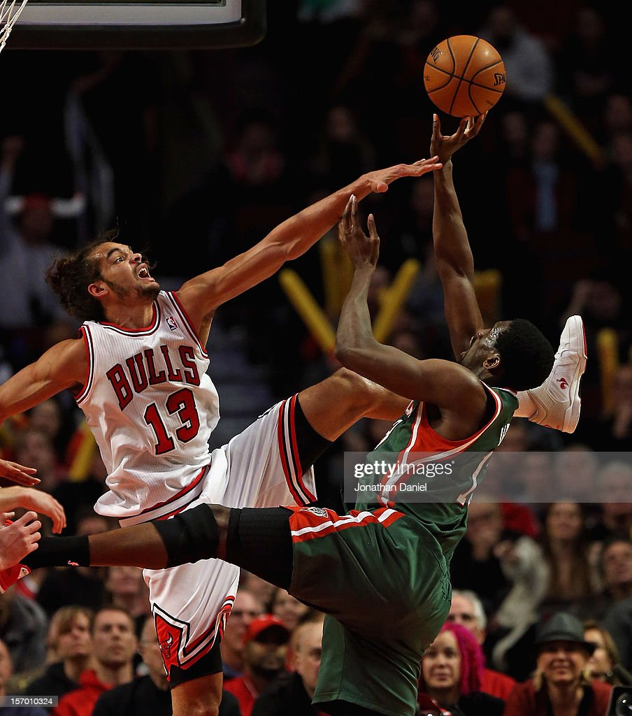 Ekpe Udoh #13 of the Milwaukee Bucks puts up a shot against Joakim Noah #13 of the Chicago Bulls at the United Center on November 26, 2012 in Chicago, Illinois. The Bucks defeated the Bulls 93-92.