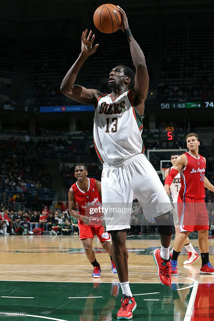<a gi-track='captionPersonalityLinkClicked' href=/galleries/search?phrase=Ekpe+Udoh&family=editorial&specificpeople=4185351 ng-click='$event.stopPropagation()'>Ekpe Udoh</a> #13 of the Milwaukee Bucks puts up a shot against the Los Angeles Clippers on December 15, 2012 at the BMO Harris Bradley Center in Milwaukee, Wisconsin.
