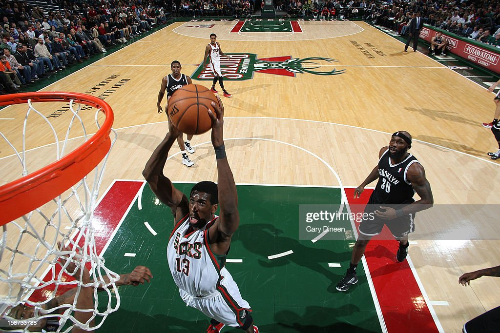 Ekpe Udoh #13 of the Milwaukee Bucks shoots against the Brooklyn Nets during the NBA game on December 26, 2012 at the BMO Harris Bradley Center in Milwaukee, Wisconsin.