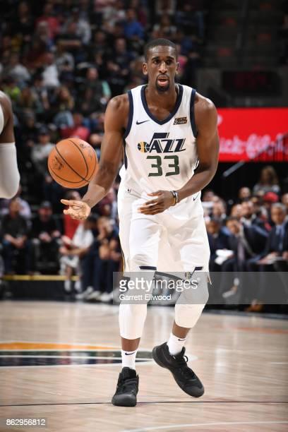 Ekpe Udoh of the Utah Jazz handles the ball against the Denver Nuggets during the game on October 18 2017 at vivintSmartHome Arena in Salt Lake City...