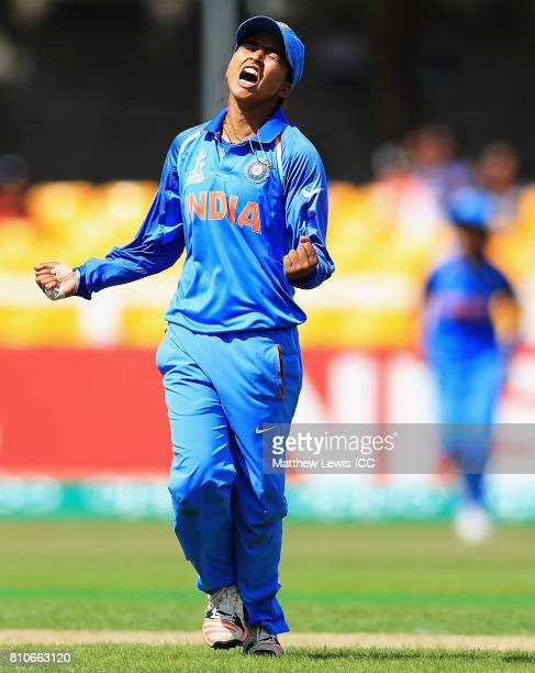 Ekta Bisht of India celebrate sthe wicket of Trisha Chetty of South Africa after she was caught by Jhulan Goswami during the ICC Women's World Cup...