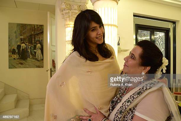Ekta Kapoor with her mother Shobha Kapoor at the celebratory Ganesh Chaturthi lunch held at their residence Krishna Bungalow on September 20 2015 in...