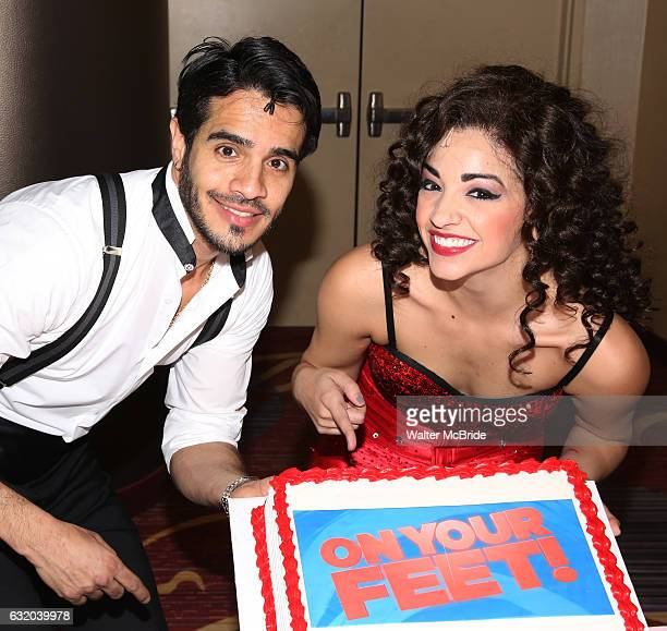 Ektor Rivera and Ana Villafane from the Broadway production of 'On Your Feet' celebrate their 500th performance at Marquis Hotel on January 18 2017...