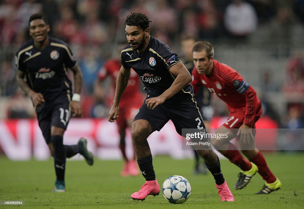 El Arabi Hilal Soudani of Dinamo Zagreb in action during the UEFA Champions League Group F match between FC Bayern Munchen and GNK Dinamo Zagreb at the Allianz Arena on September 29, 2015 in Munich, Germany.