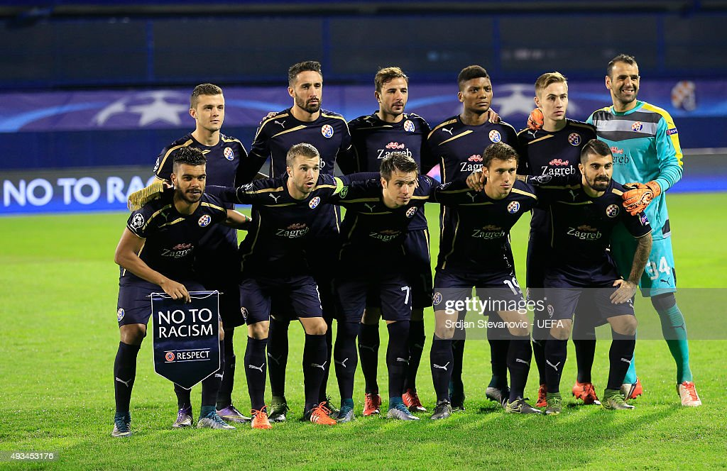 El Arabi Hilal Soudani (L) of Dinamo Zagreb line up with a 'No to Racism' pennant prior to the UEFA Champions League Group F match between Dinamo Zagreb and Olympiacos FC at Maksimir Stadium on October 20, 2015 in Zagreb, Croatia.