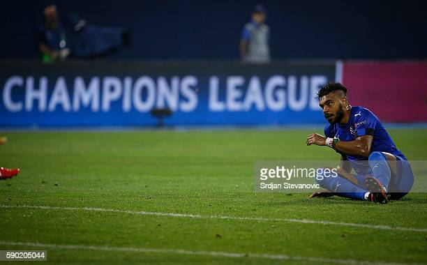 El Arabi Hilal Soudani of Dinamo Zagreb looks on during the UEFA Champions League Playoffs First leg match between Dinamo Zagreb and Salzburg at...
