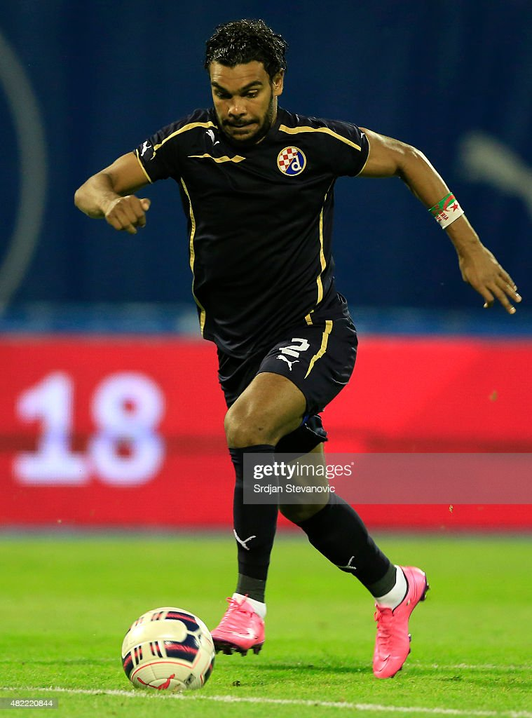 El Arabi Hilal Soudani of FC Dinamo Zagreb in action during the UEFA Champions League Third Qualifying Round 1st Leg match between FC Dinamo Zagreb and FC Molde at Maksimir stadium in Zagreb, Croatia on Tuesday, July 28, 2015.