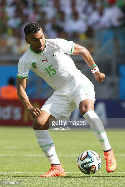 El Arabi Soudani of Algeria in action during the 2014 FIFA World Cup Brazil Group H match between Belgium and Algeria at Estadio Mineirao on June 17...