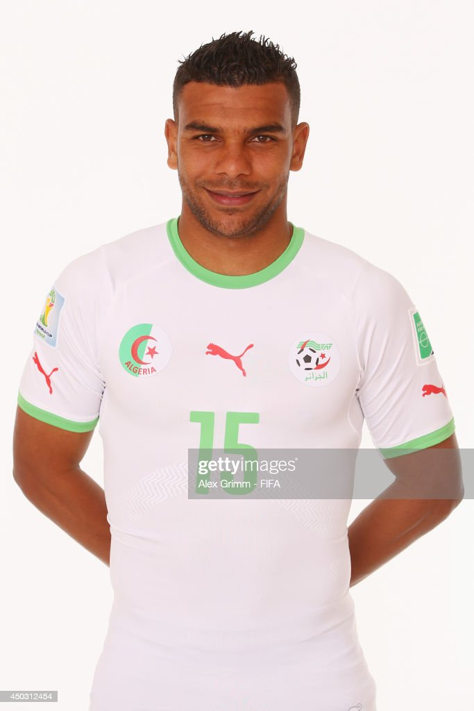 El Arabi Soudani of Algeria poses during the official FIFA World Cup 2014 portrait session on June 8, 2014 in Sao Paulo, Brazil.