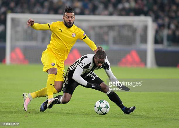 El Arbi Soudani and Patrice Evra during Champions League match between Juventus v Dinamo Zagreb in Turin on December 7 2016