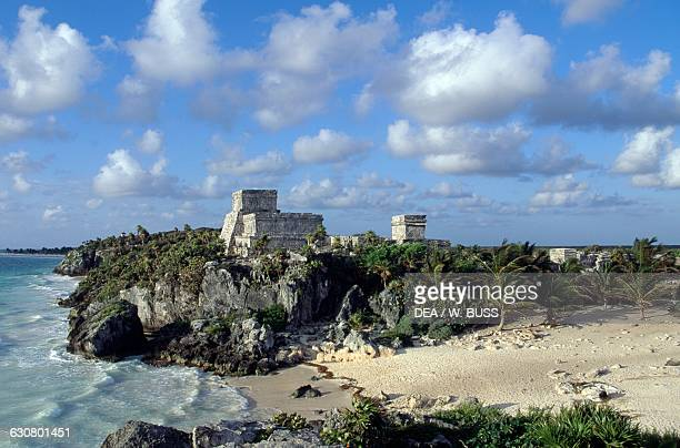 El Castillo and Caleta beach Tulum Quintana Roo Mexico Maya civilisation 6th century
