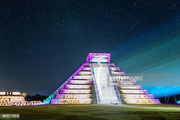 El Castillo temple at night, Chichen Itza, Mexico