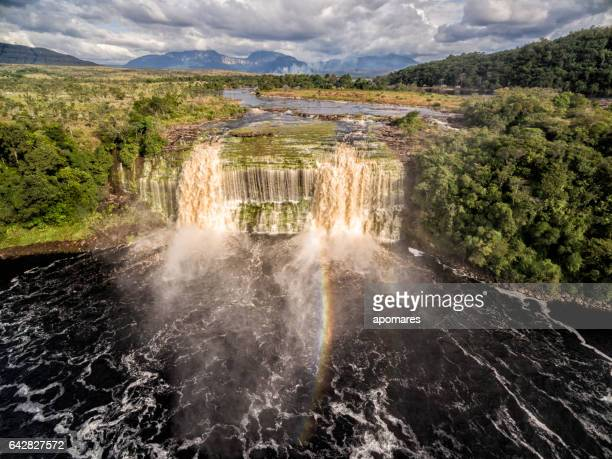El Hacha waterfall at aerial view. Canaima National Park, Venezuela