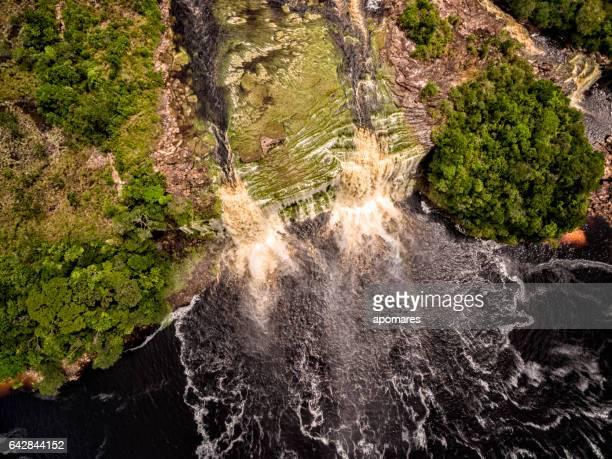 El Hacha waterfall at aerial view. Canaima National Park, Venezuela