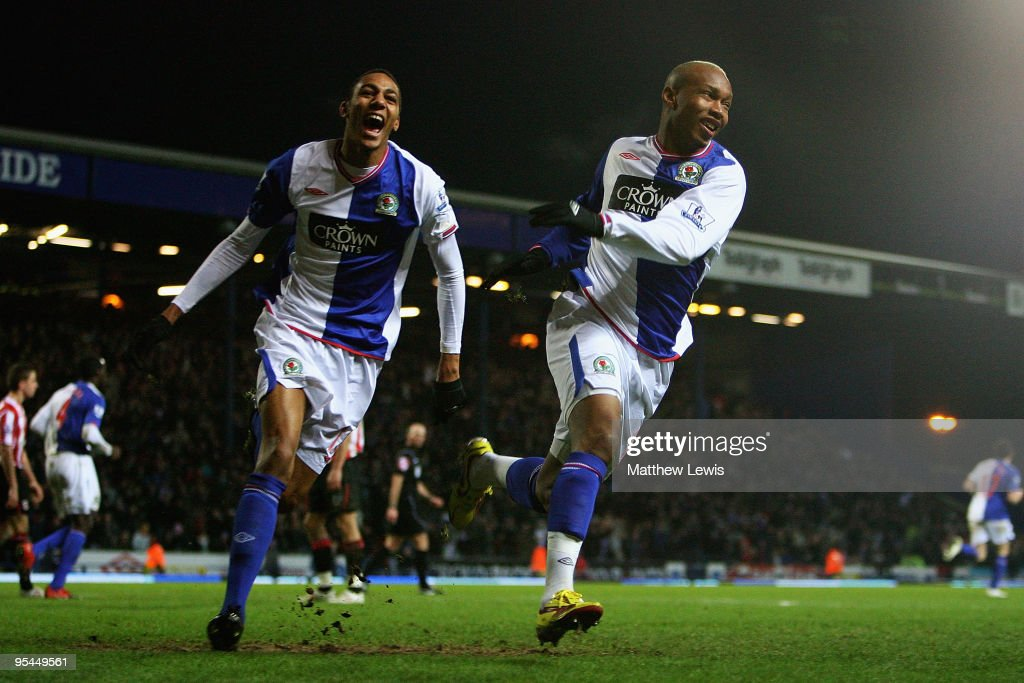 El Hadji Diouf of Blackburn celebrates his goal with Steven Nzonzi during the Barclays Premier League match between Blackburn Rovers and Sunderland at Ewood Park on December 28, 2009 in Blackburn, England.